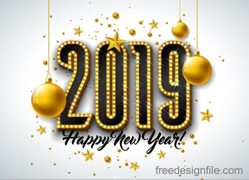 2019 new year background with neon design vectors