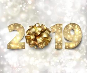 2019 new year background with ribbon flower vector