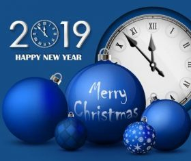 2019 new year clock with blue christmas balls vector