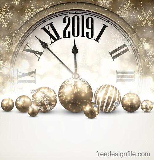 2019 new year clock with christmas balls vector