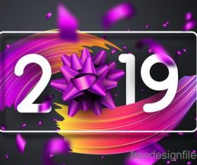 2019 new year design with abstract background vector