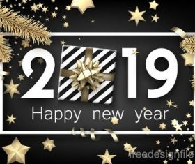 2019 new year design with gift boxs and black background vector