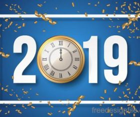2019 new year design with golden clock vector