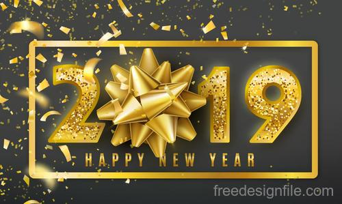 2019 new year design with golden floral vector