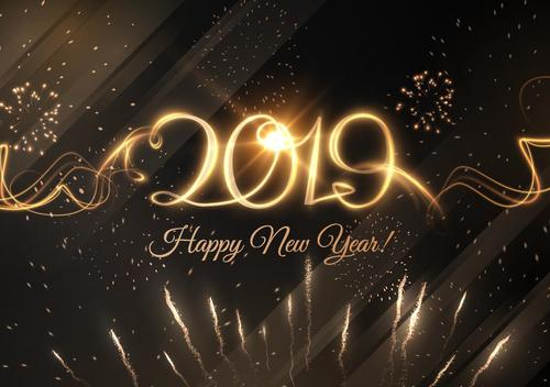 2019 new year firwork with golden vector
