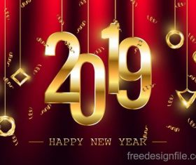 2019 new year golden decor with red background vector