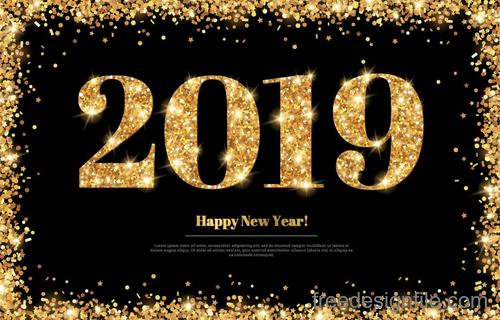 2019 new year golden shiny design vector