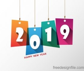 2019 new year tag design vector
