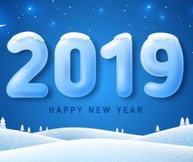 2019 new year winter night design vector