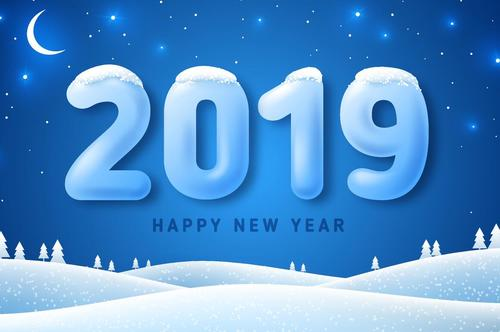 2019 new year winter night design vector