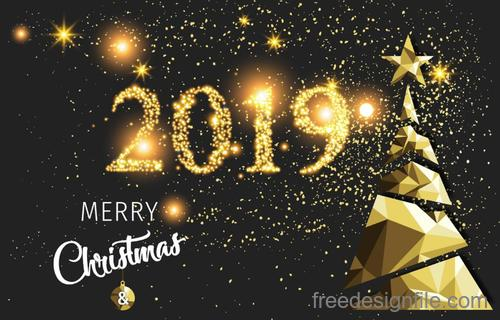 2019 new year with christmas and golden star vector