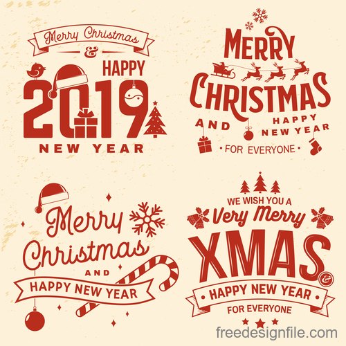 2019 new year with christmas retro labels with badge vector 01