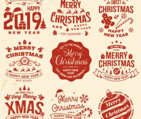 2019 new year with christmas retro labels with badge vector 02