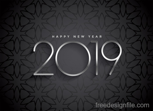 2019 new year with floral background vector