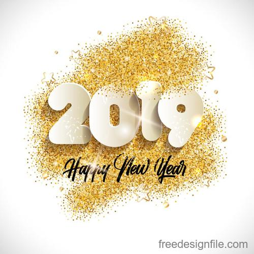 2019 new year with golden particles background design vector