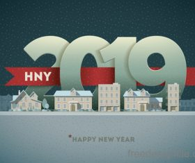 2019 new year with paper design vector