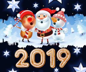 2019 new year with winter snow background vector