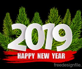 2019 sign with fir branch vector