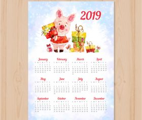 2019 year of the pig calendar vectors