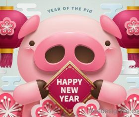 2019 year of the pig creative design vector