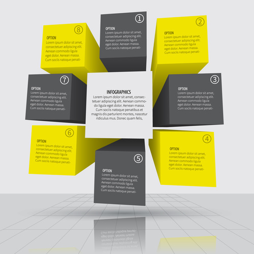 3D infographic template vector design 01