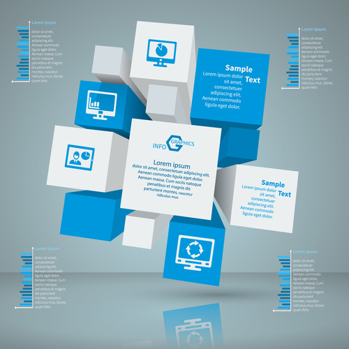 3D infographic template vector design 02