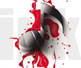 3D musical note with red paint vector