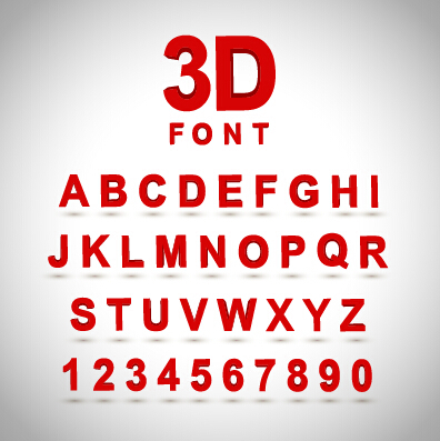 3D red alphabet with nembers vector