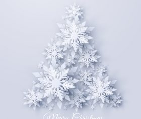 3D snowflake christmas tree vector