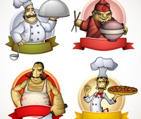4 Kind chef labels vector