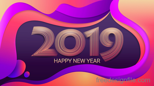Abstract New Year 2019 design vector material