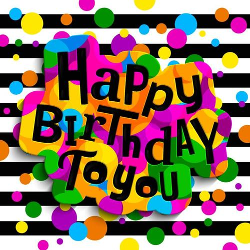 Abstract birthday background colored dots vector