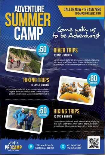 Adventure Summer Camp Flyer and Poster PSD Template