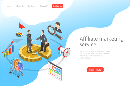 Affiliate marketing service business template vector