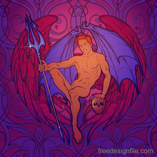 Angel and demon mural template vector 02