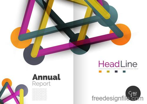Annual report brochure cover template vector 01