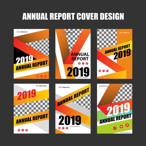 Annual report cover design vector 01