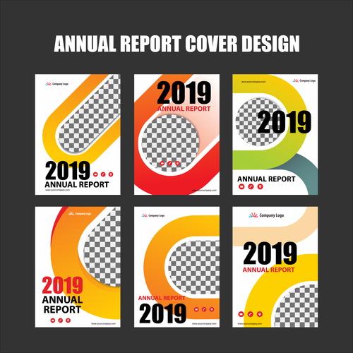 Annual report cover design vector 04