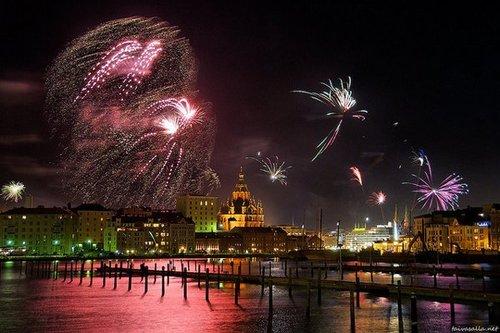 Around the World New Year Fireworks Stock Photo 04