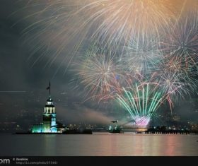 Around the World New Year Fireworks Stock Photo 09
