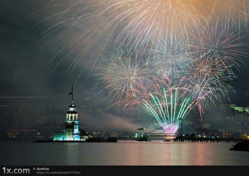 Around the World New Year Fireworks Stock Photo 09