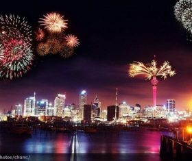 Around the World New Year Fireworks Stock Photo 10