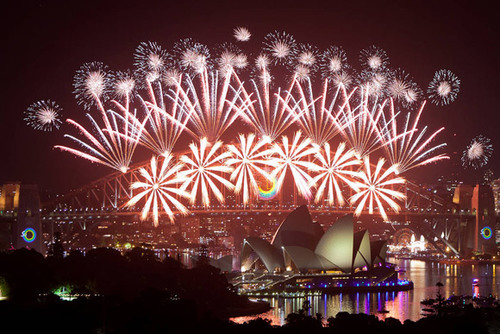 Around the World New Year Fireworks Stock Photo 12