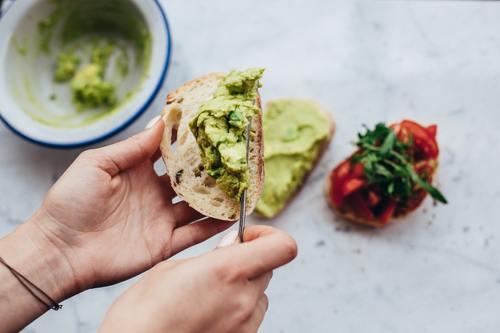Avocado bread slices Stock Photo