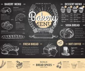 Bakery menu template with blackboard vectors 01