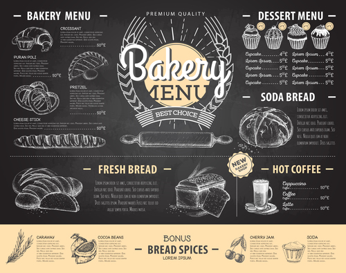 Bakery menu template with blackboard vectors 01