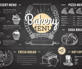 Bakery menu template with blackboard vectors 02