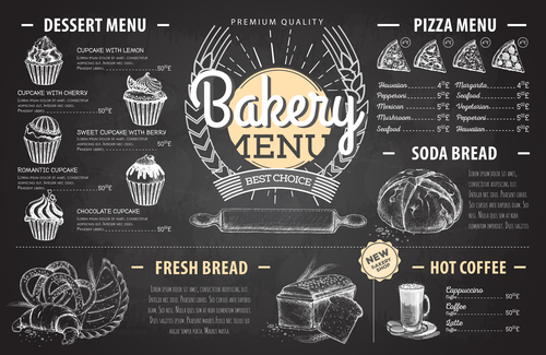 Bakery menu template with blackboard vectors 02