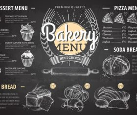 Bakery menu template with blackboard vectors 03