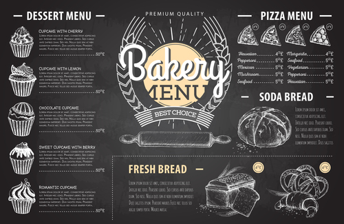Bakery menu template with blackboard vectors 04